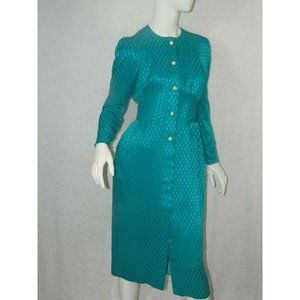 Vintage Albert Nipon Dress Silk Turquoise Size 4